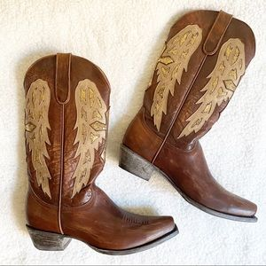Old Gringo Gold Cross Wing Cowboy Boot Brown 8.5